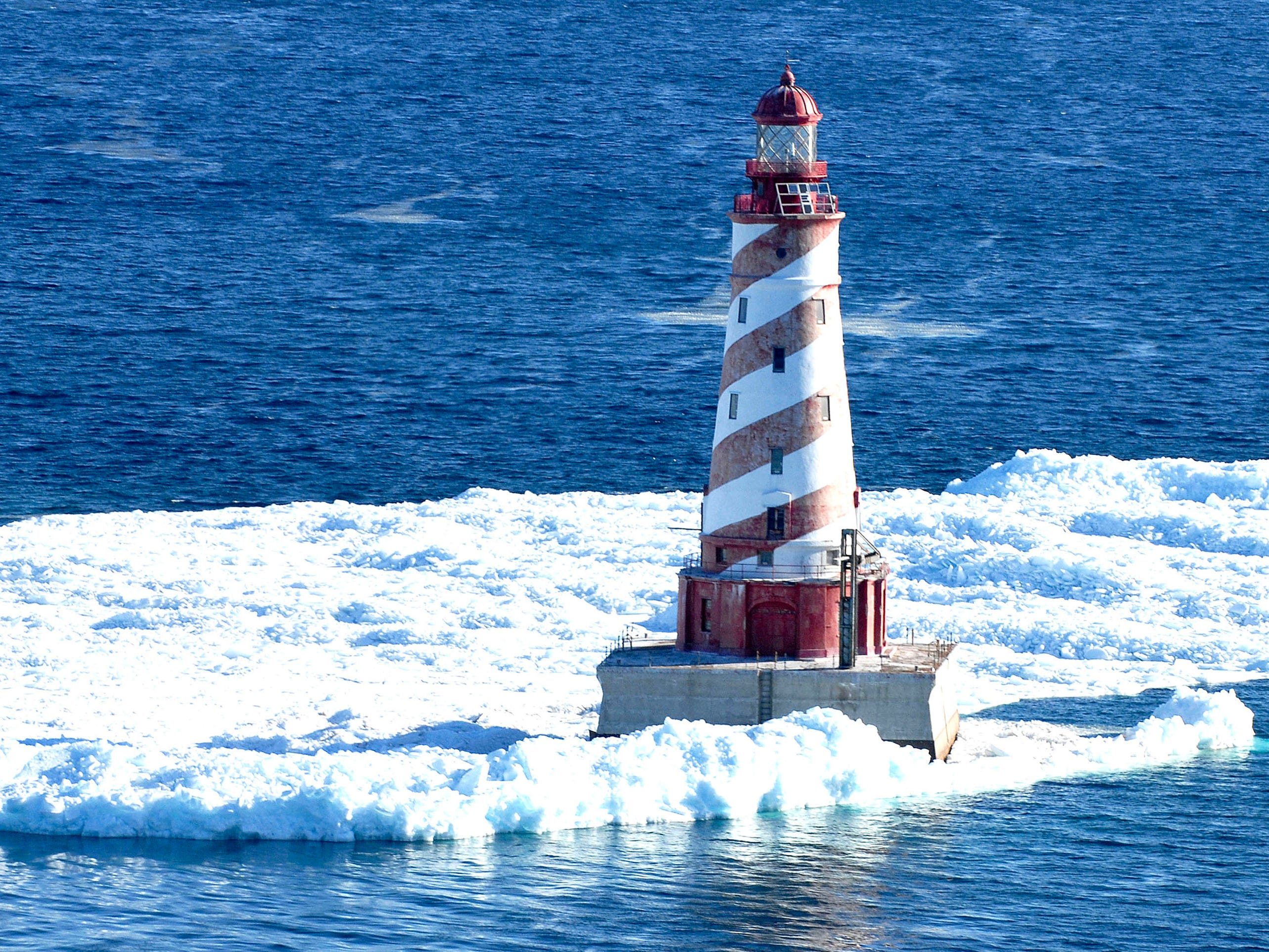 Ice surrounds the White Shoal Lighthouse on March 25, 2011.