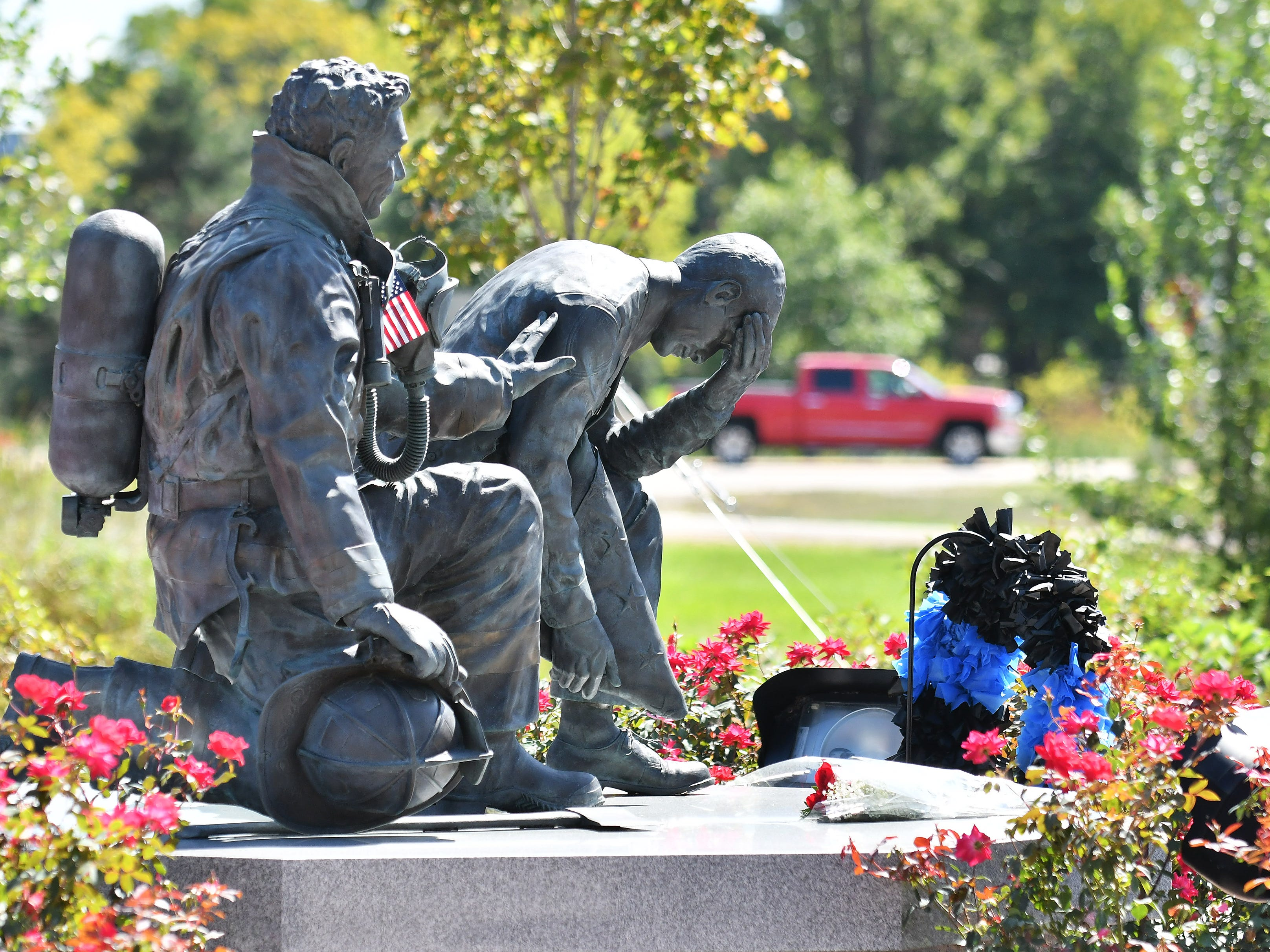 The sculpture at the Michigan Fallen Heroes Memorial.