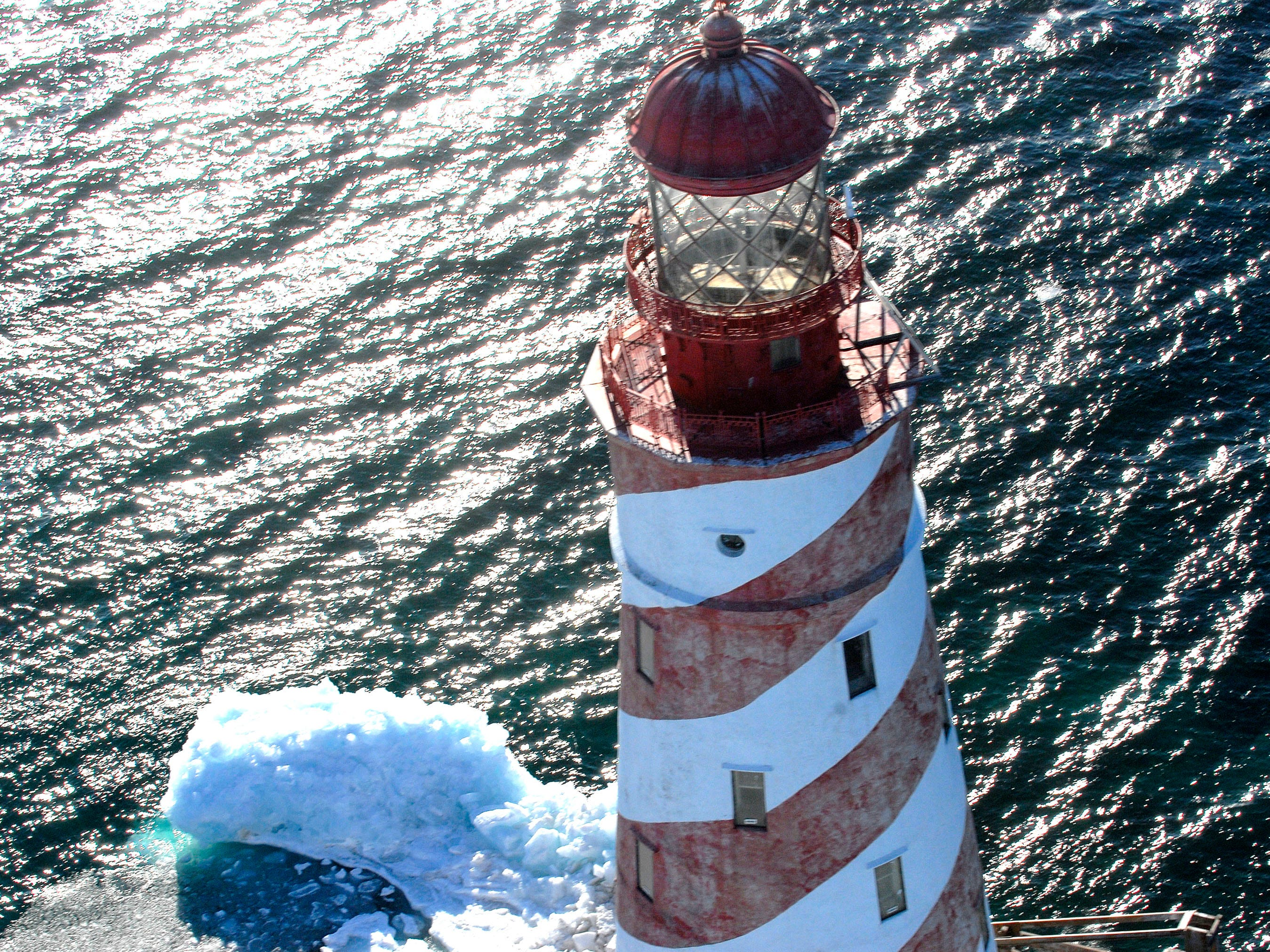 An aerial shot of the White Shoal Lighthouse on March 25, 2011.