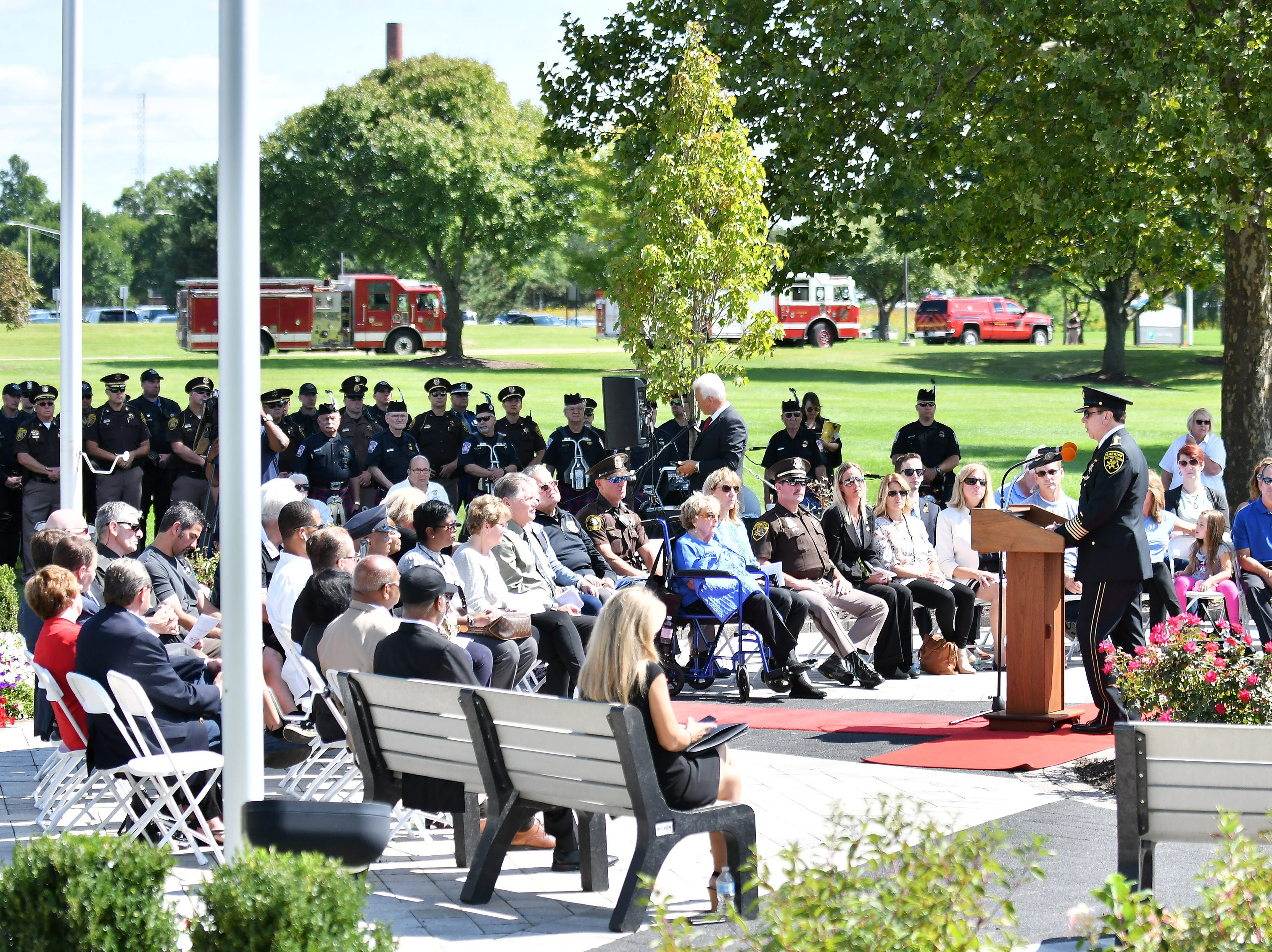 Oakland County Sheriff Michael Bouchard speaks during the ceremony.