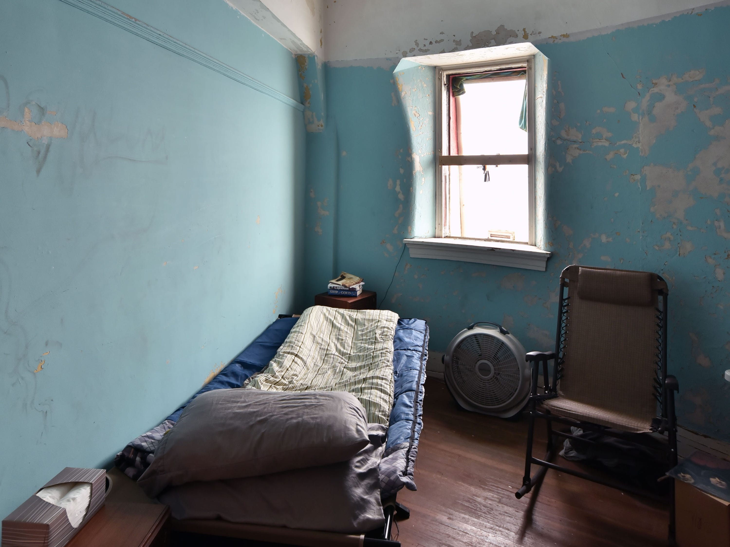 A bedroom in the White Shoal lighthouse, Sunday, Sept. 2, 2018, has not been occupied since 1976.