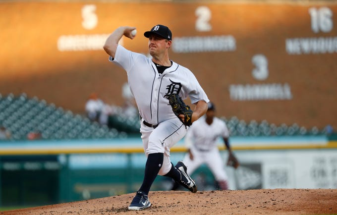 Detroit Tigers pitcher Jordan Zimmermann throws against the Houston Astros in the second inning of a baseball game against the Detroit Tigers in Detroit, Tuesday, Sept. 11, 2018.