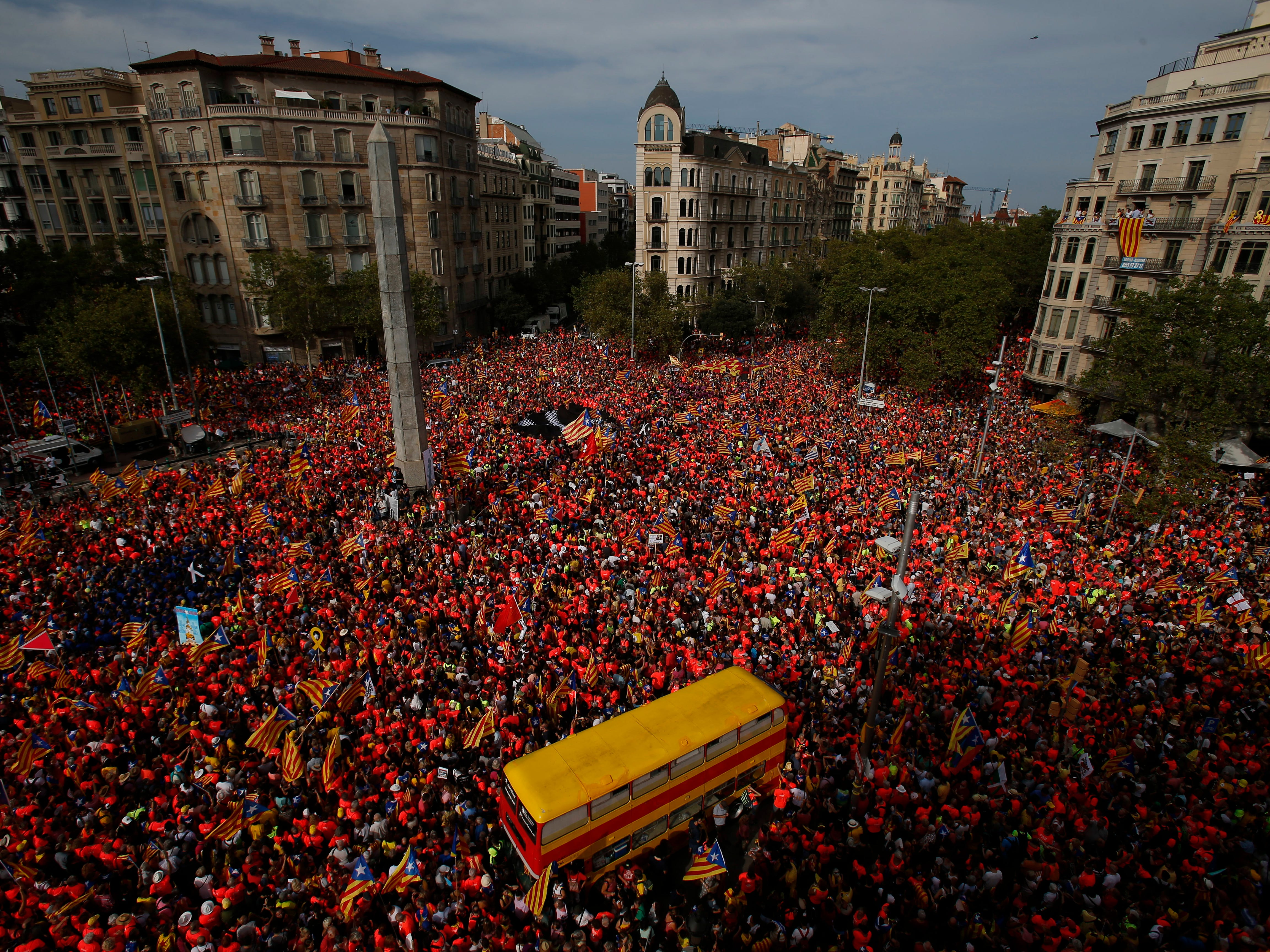 "Pro-Independence demonstrators pack the Avenida Diagonal during the Catalan National Day in Barcelona, Spain, Tuesday, Sept. 11, 2018. Catalan separatist authorities have made a call to flood the streets of Barcelona later on Tuesday in a march calling for independence from Spain. The traditional on the Sept. 11 ""Diada,"" which remembers the fall of the Catalan capital to Spanish forces in 1714, is expected to attract this year hundreds of thousands of secession sympathisers."