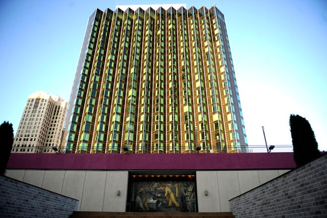 The Crown Plaza Hotel in Detroit.