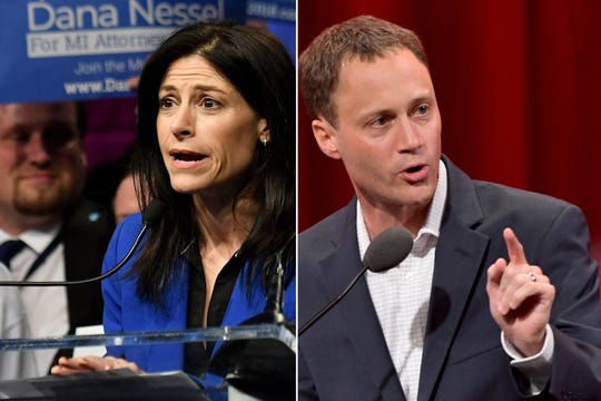 Michigan Attorney General candidates: Dana Nessel, (D), left, and Tom Leonard (R).