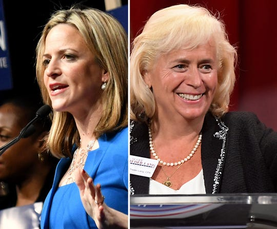 Michigan Secretary of State candidates Jocelyn Benson, (D), left, and Mary Treder Lang (R).