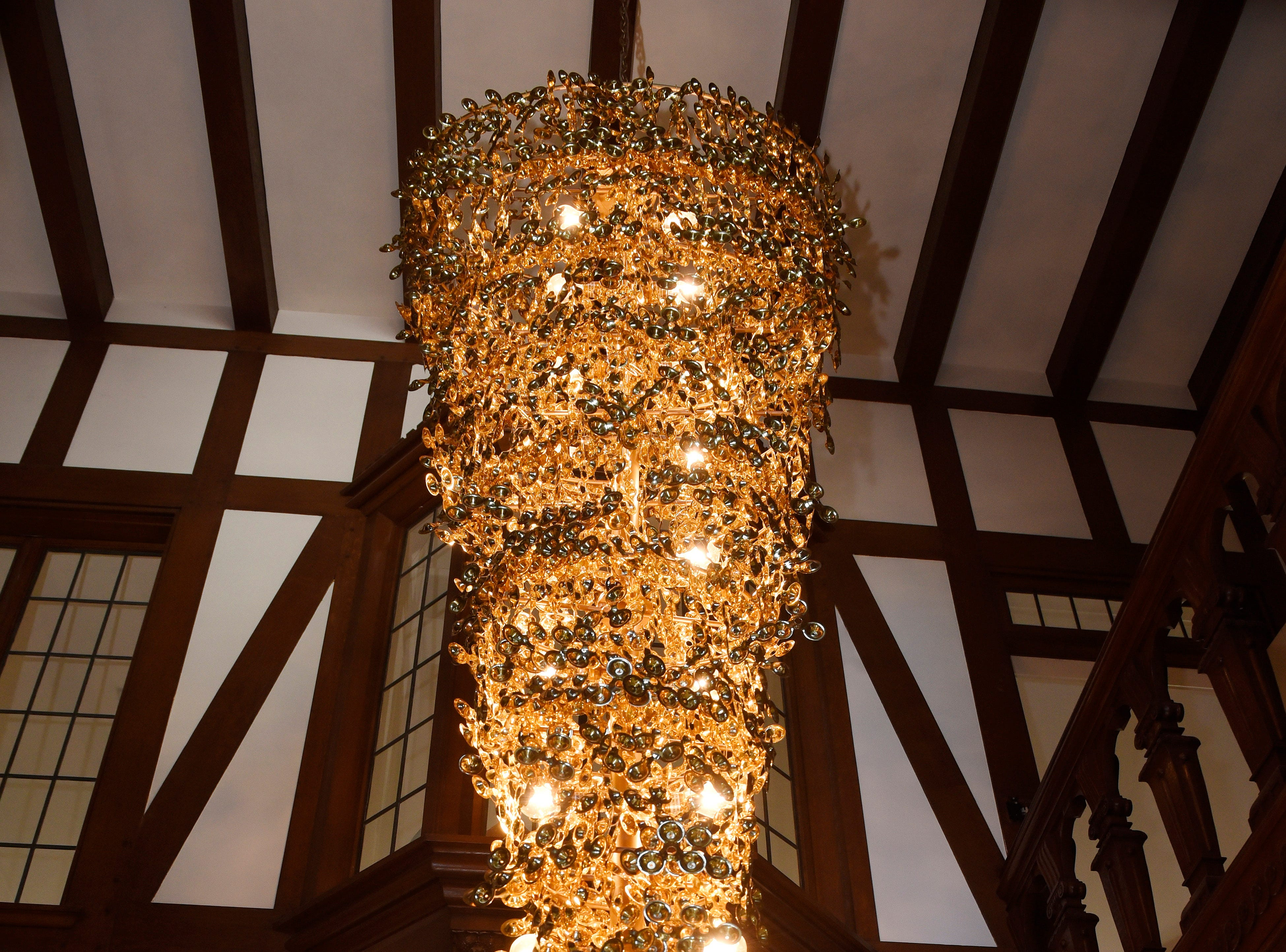 A light fixture in the main entrance of the foyer at the Fisher mansion.