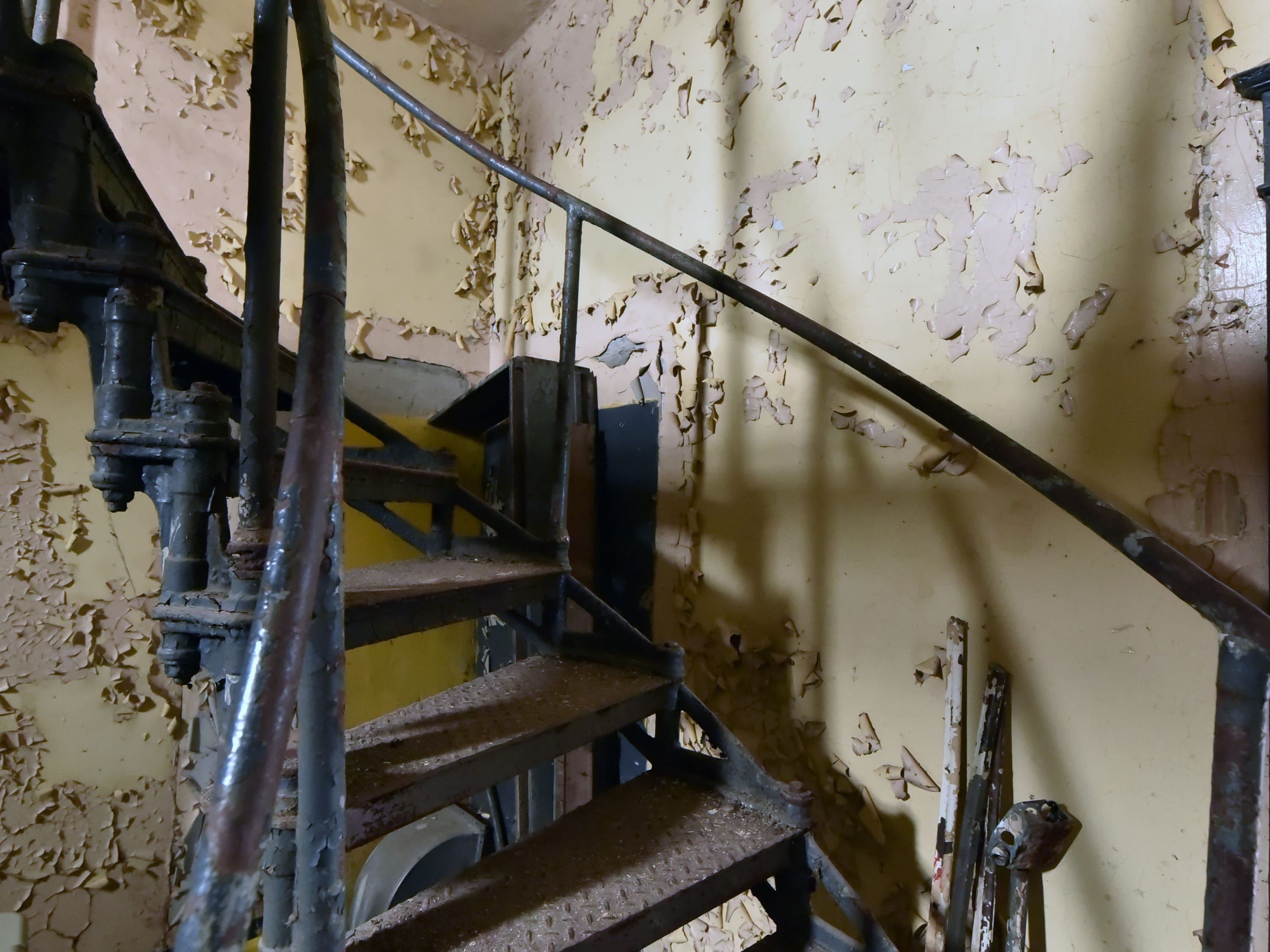 An iron staircase and lead-based paint are just a small part of the work ahead for a volunteer crew that will restore the 108-year-old White Shoal Lighthouse. Sunday, Sept. 2, 2018.