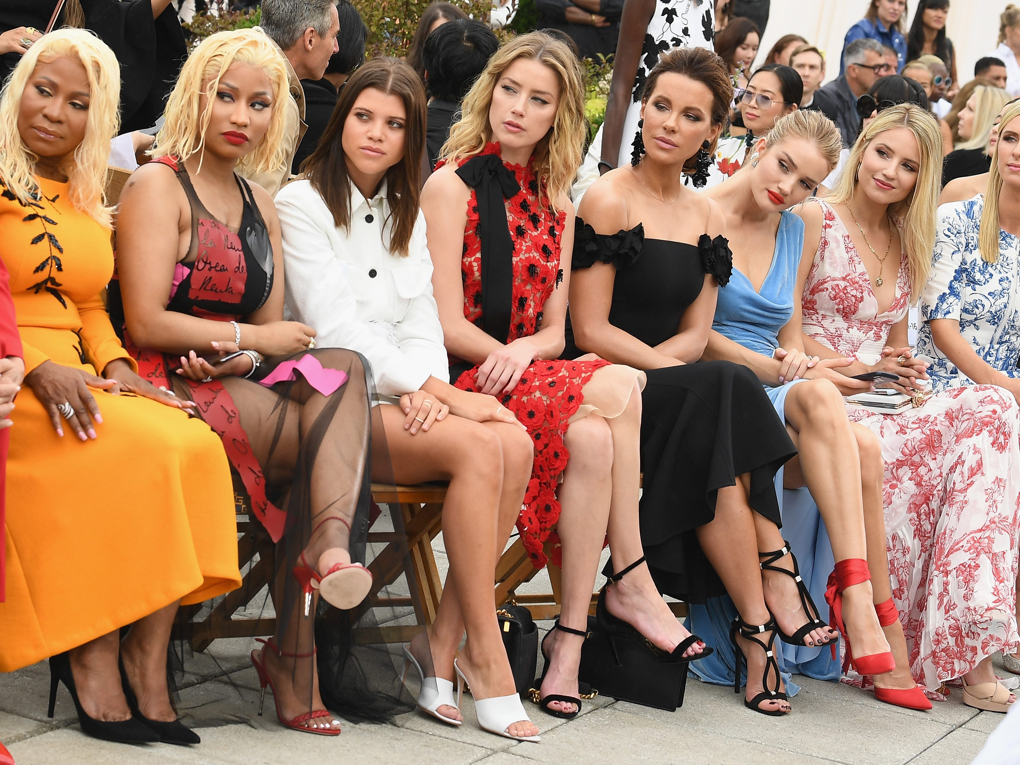 NEW YORK, NY - SEPTEMBER 11:  (L-R) Carol Maraj, Nicki Minaj, Sofia Richie, Amber Heard, Kate Beckinsale, Rosie Huntington-Whiteley, Dianna Agron and Nicky Hilton Rothschild attend the Oscar De La Renta front Row during New York Fashion Week: The Shows at Spring Studios Terrace on September 11, 2018 in New York City.