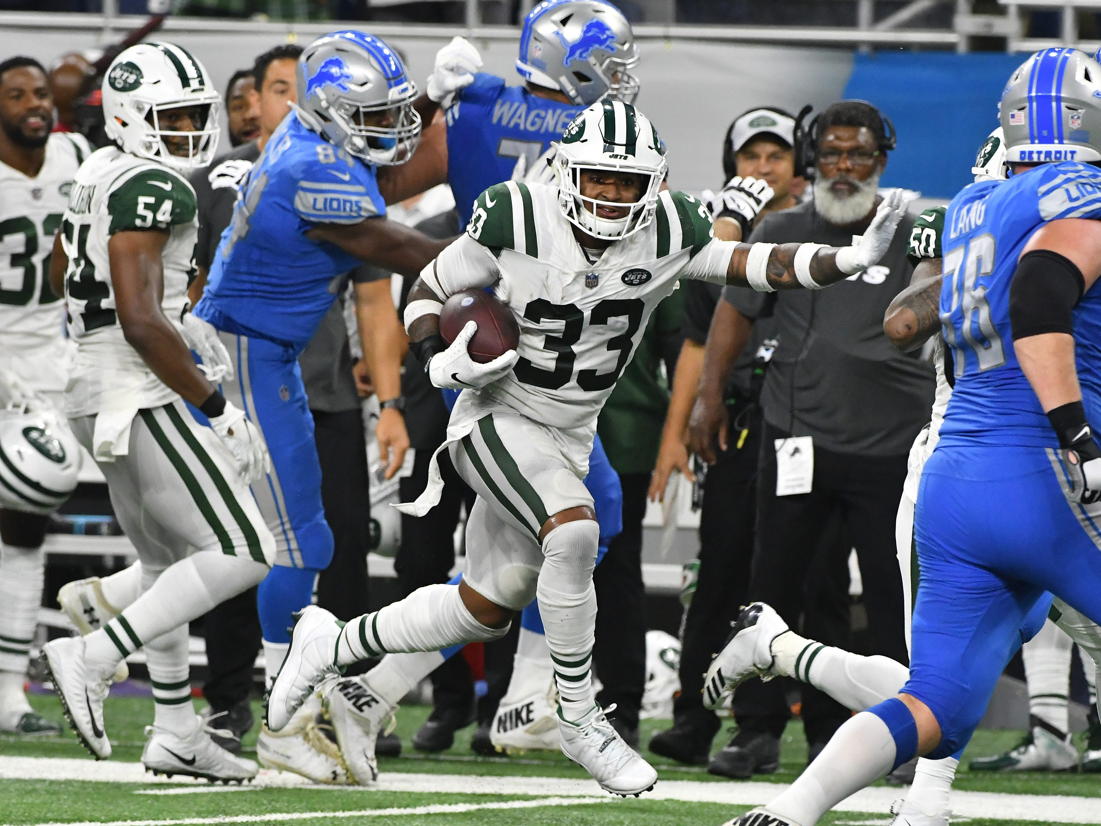 Jets' Jamal Adams intercepts a Lions quarterback Matt Cassel pass late in the fourth quarter.