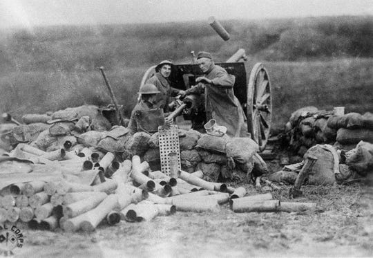 """Battery """"C"""", Sixth F.A., 1st Division which fired the first cannon shot from the U.S. on the Lorraine, France front at Beaumont during the Great War, are pictured Sept. 12, 1918."""