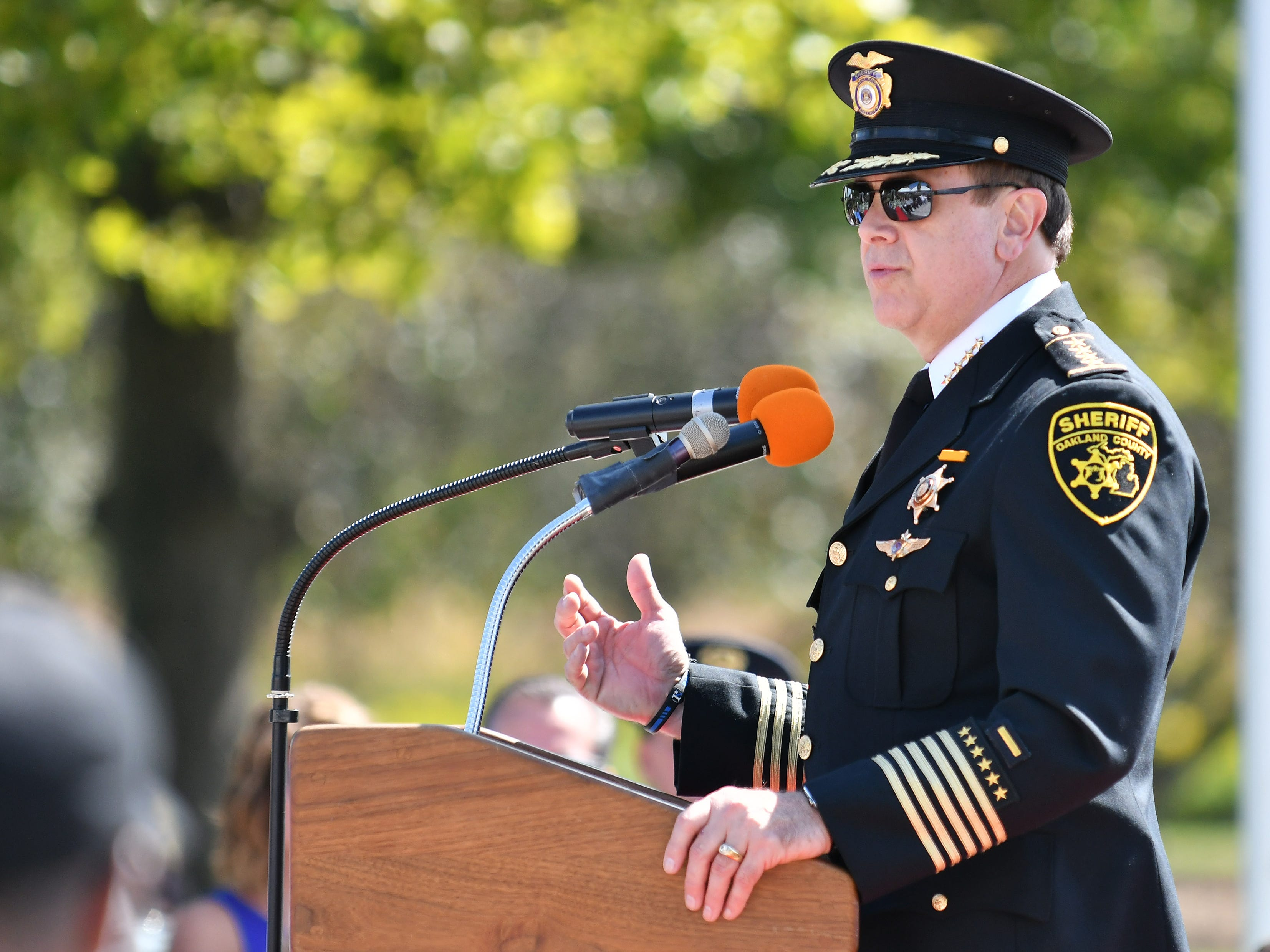 Oakland County Sheriff Michael Bouchard speaks during the Michigan Fallen Heroes Memorial September 11th Remembrance Ceremony.
