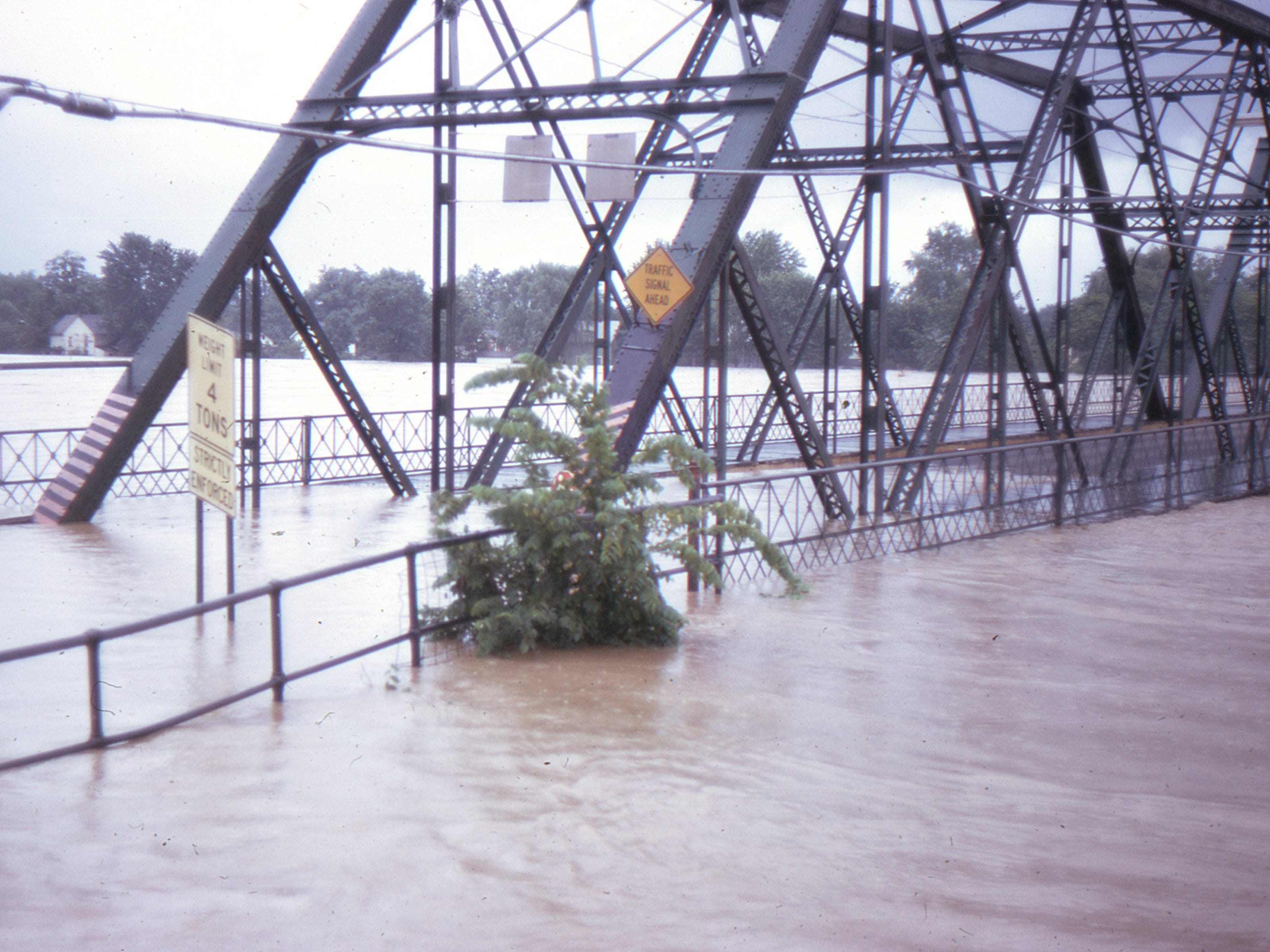 Flooding of the Walnut Street Bridge in Elmira.