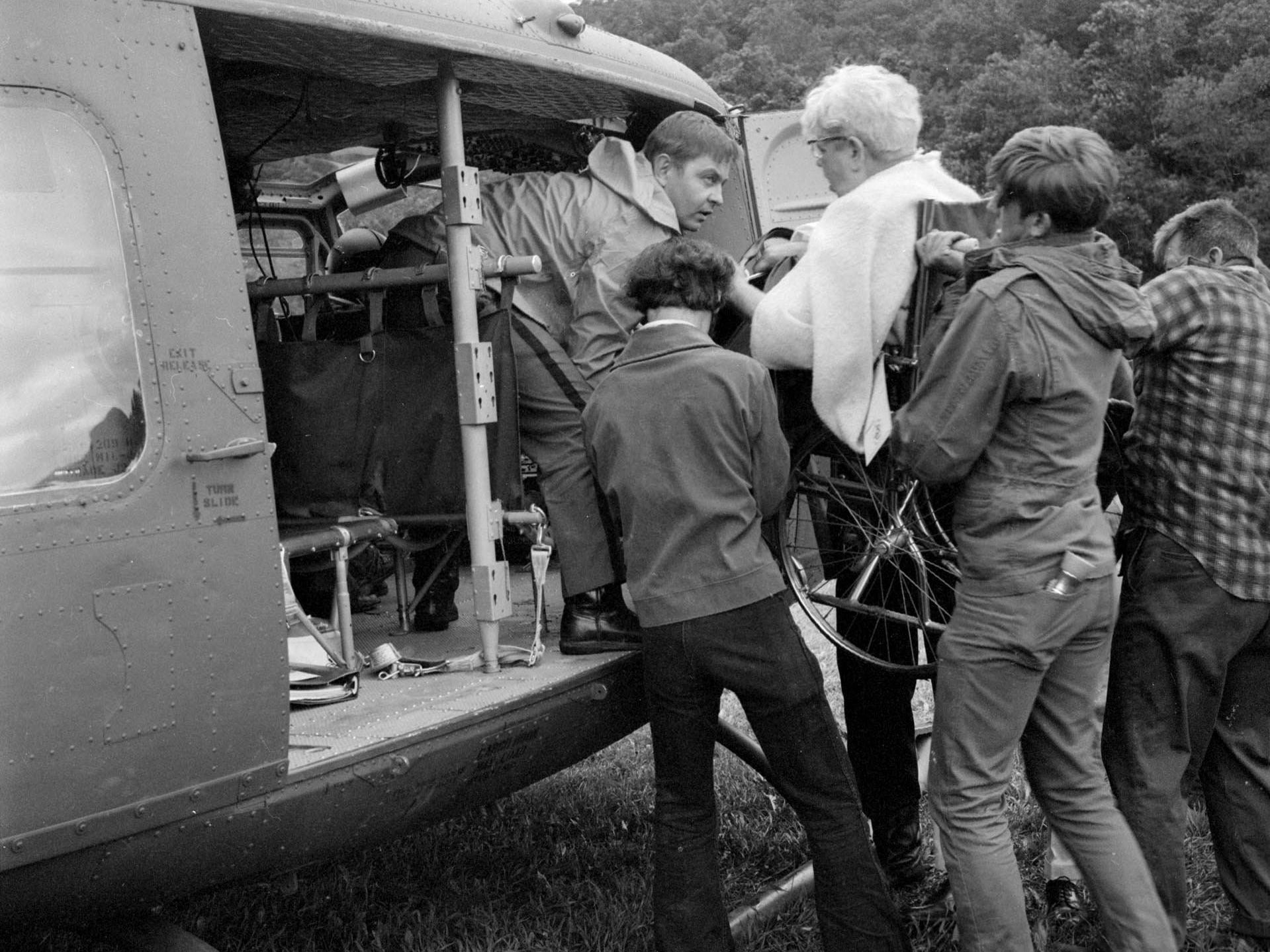 St. Joseph's Hospital in Elmira and other health care facilities in the path of Agnes were forced to evacuate patients by helicopter in some cases.