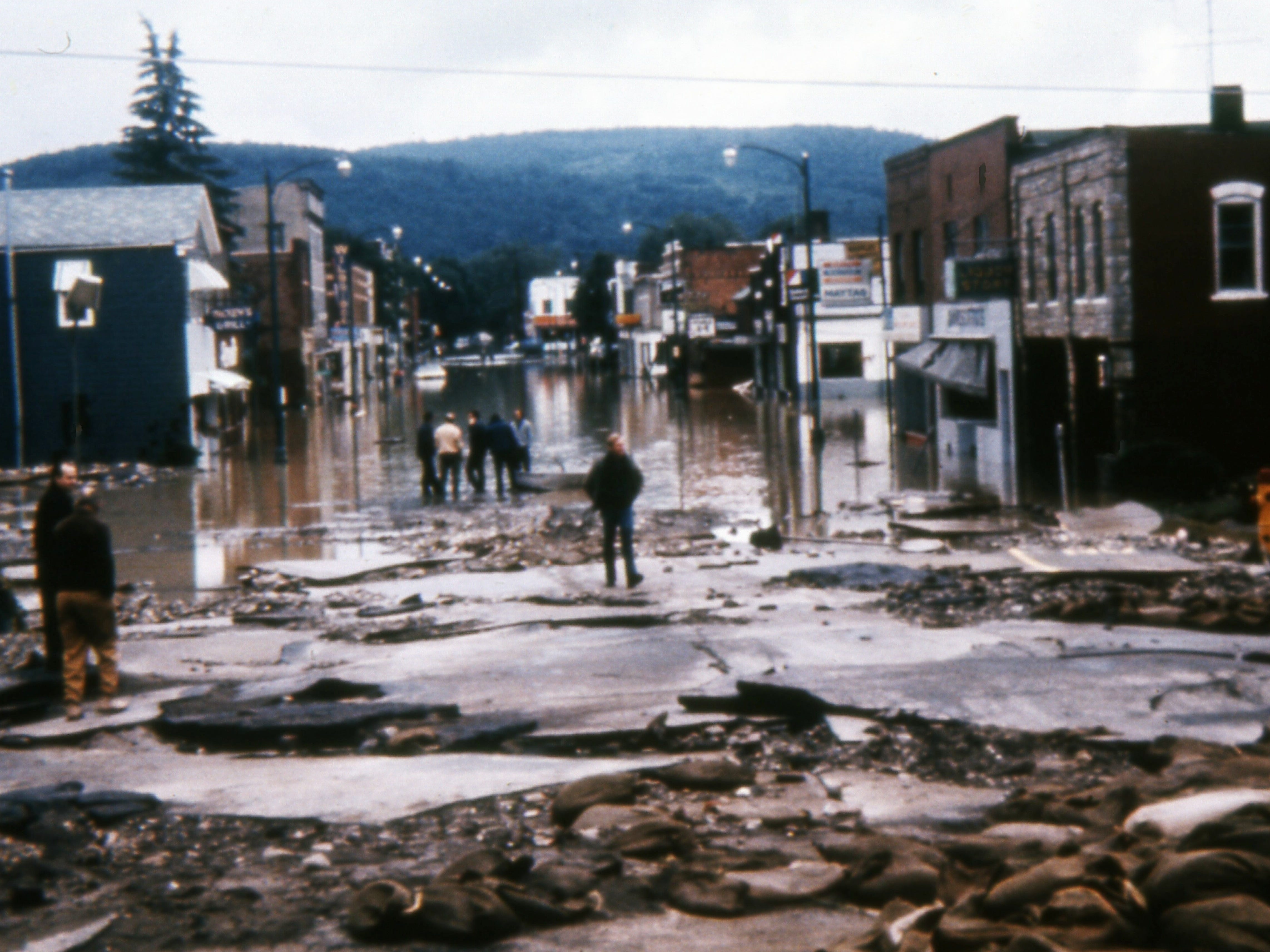 This image of Bridge Street in Corning, a few days after the June 1972 Agnes flood, is among the photographs compiled by Kirk House for new 40th anniversary book about the flood.