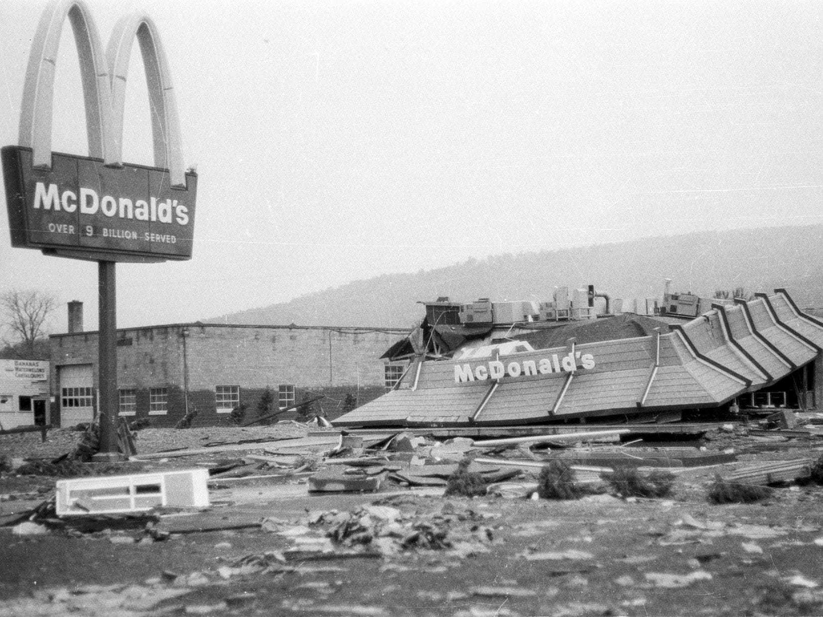The McDonald's in Riverside, near Corning, was less than 1 year old when it was washed away by Agnes.