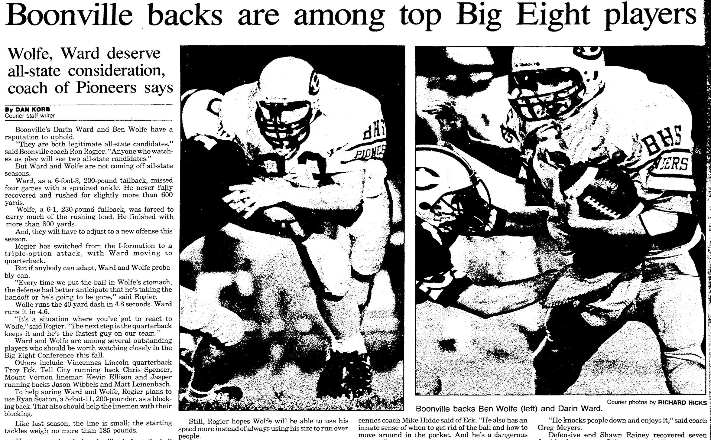 This 1991 Evansville Courier article was a preview of the 1991 high school football season, and boasted that both Ben Wolfe and Darin Ward should have gotten all-state consideration.