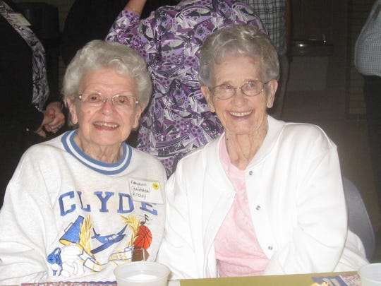 Katie Brutcher Ritchey, Clyde High School Class of 1946, left,  and Jean Wott Fry, Class of 1947, both attended the annual CHS alumni dinner. Both live at Valley View Assisted Living in Fremont.