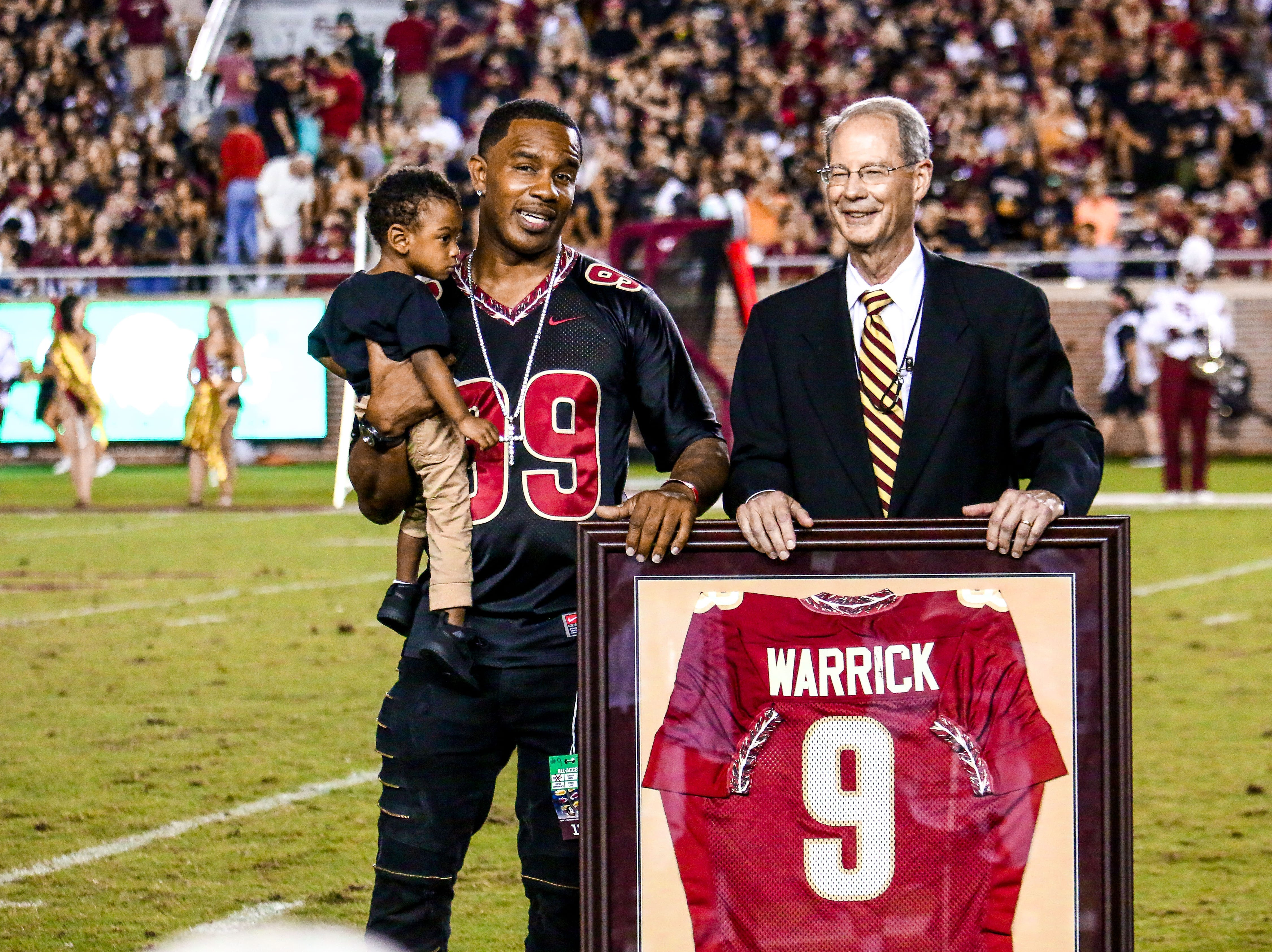At halftime against Virginia Tech, Legendary FSU Wide Receiver, Peter Warrick, had his infamous #9 jersey retired. Warrick had an exceptional career at FSU and would eventually take his talents to the NFL. Fans erupted in celebration, commemorating the legacy he left at FSU.