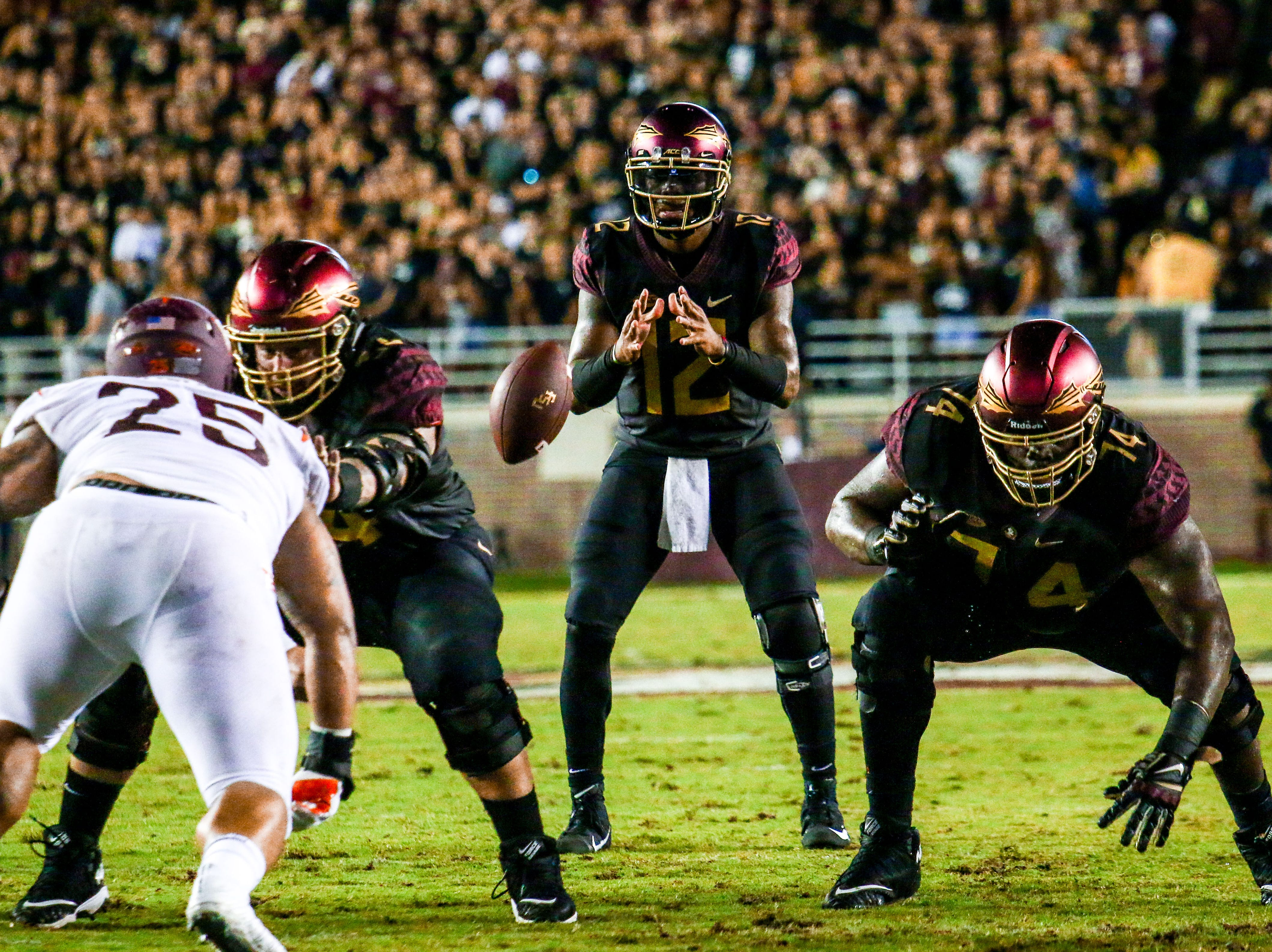 QB Deondre Francois (12) made his return from injury after being sidelined last season because of a patella injury in his left knee. Cobwebs were apparent as Francois would go on to throw 3 interceptions on Monday, September 3rd.