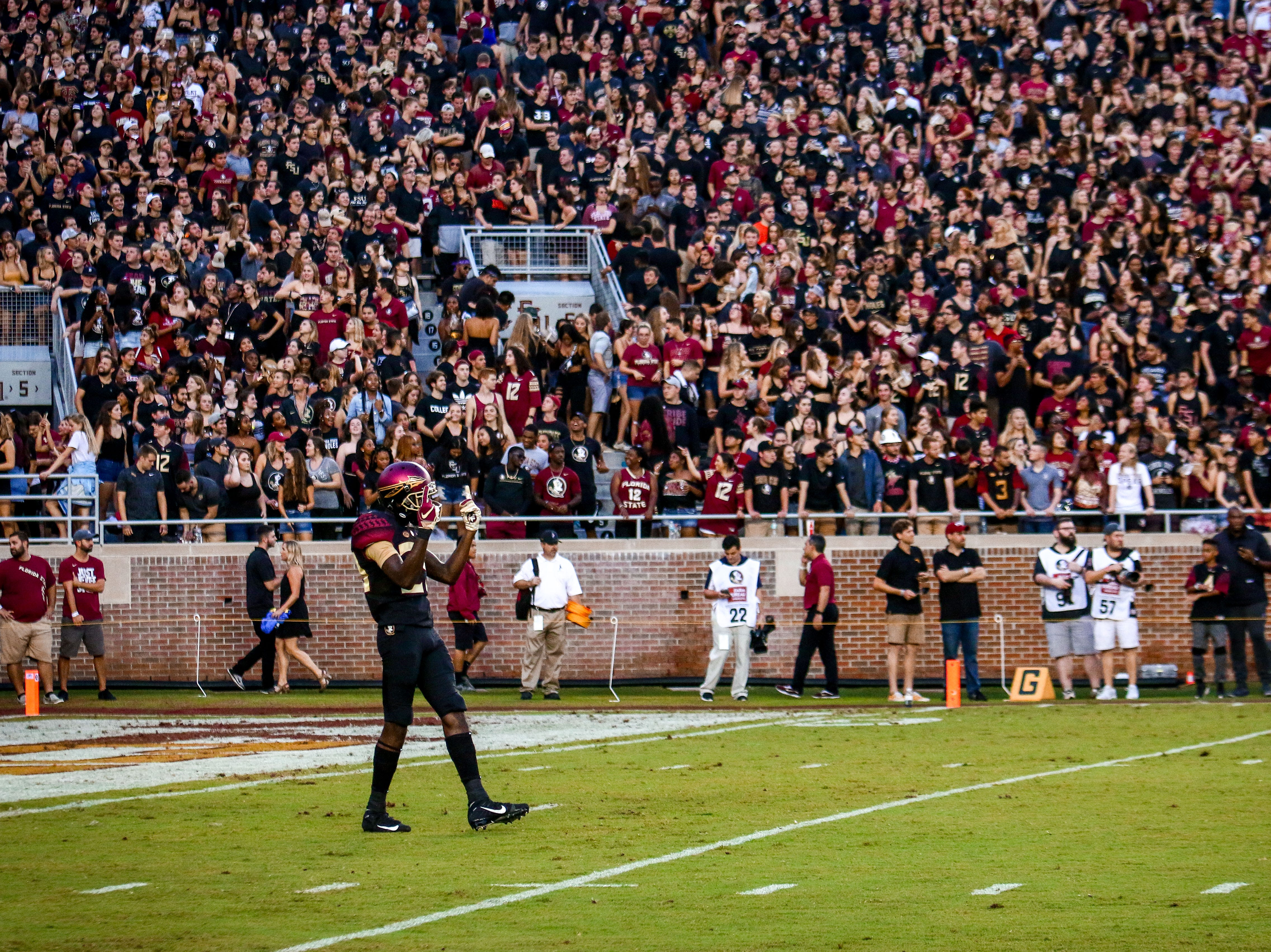The atmosphere was electric inside of Doak Campbell stadium before kickoff. Many players such as D.J. Matthews (29) fed off the energy to get prepared for the game against #20 Virginia Tech on Monday, September 3rd.