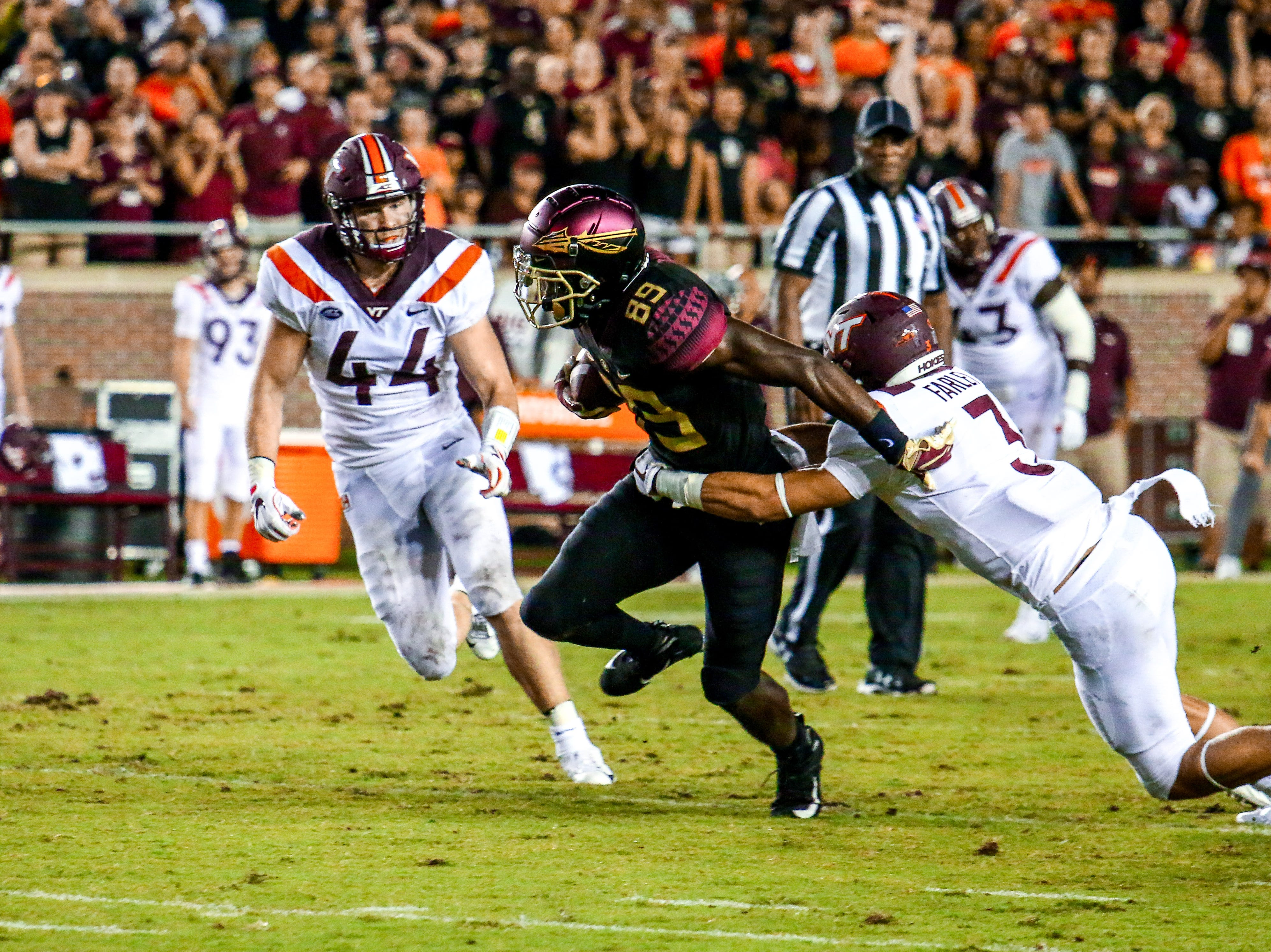 Despite some bursts of success from players like Keith Gavin (89), FSU's offense had a difficult time getting things rolling against Virginia Tech. The struggles would continue all night long on Monday, September 3rd at Doak Campbell Stadium.