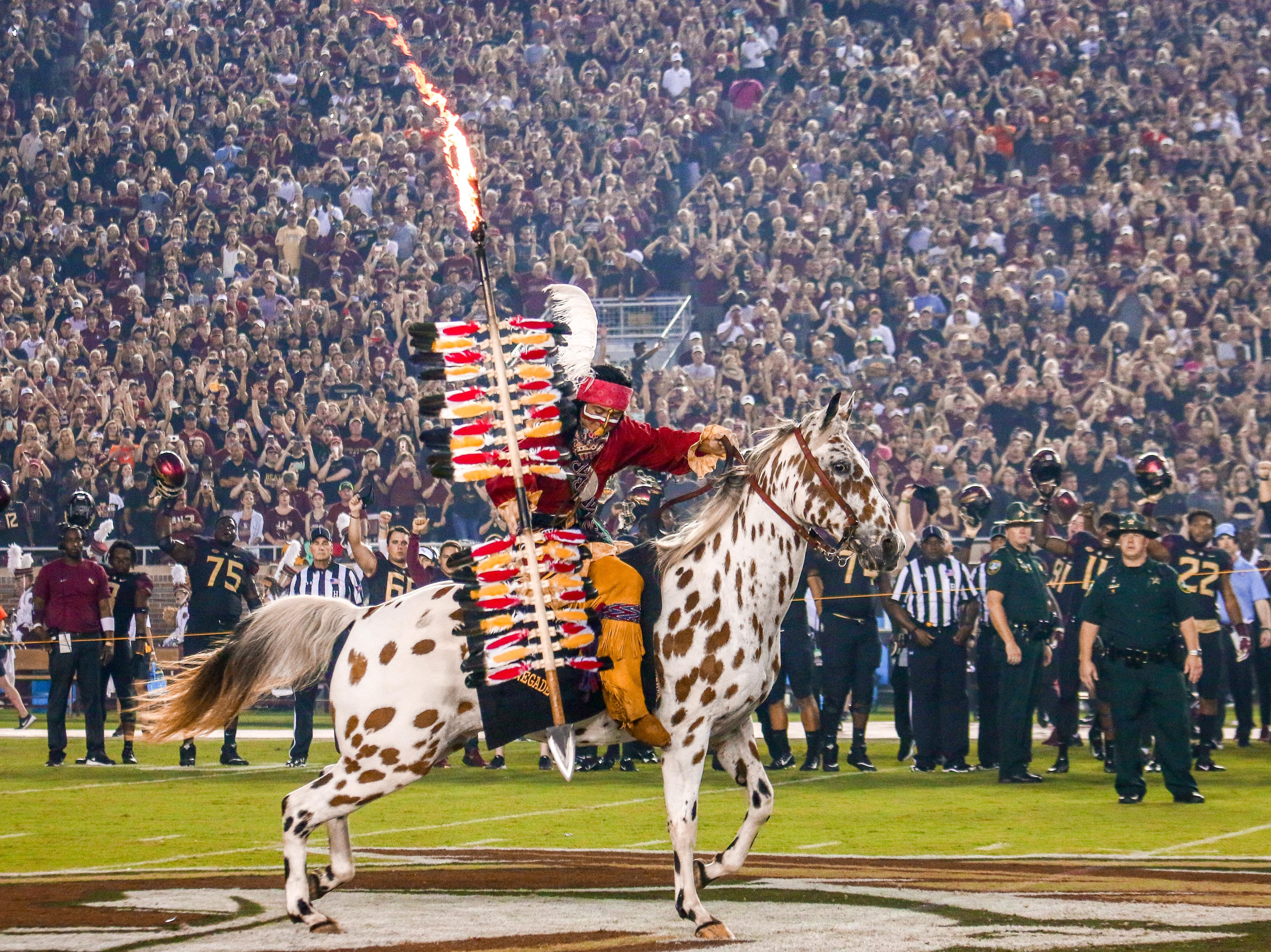 Osceola and Renegade made Doak Campbell stadium erupt with the planting of the Spear. This iconic tradition energized the whole stadium and created a magical moment before FSU took on #20 Virginia Tech on Monday, September 3rd.