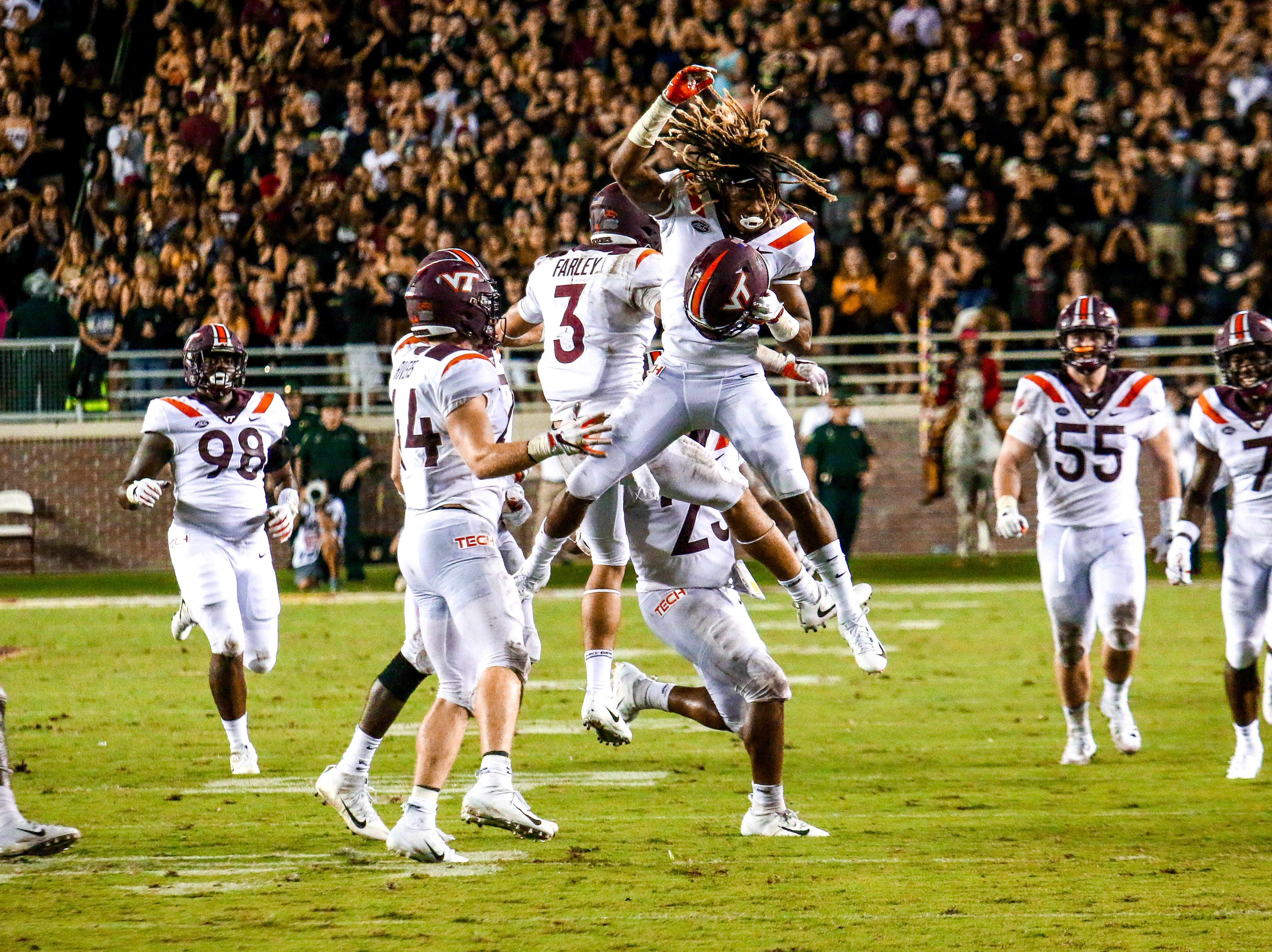 The Virginia Tech sidelines erupted after causing another big turnover in the second half against the Noles. Virginia Tech would go on to dominate the game on Monday, September 3rd at Doak Campbell stadium.