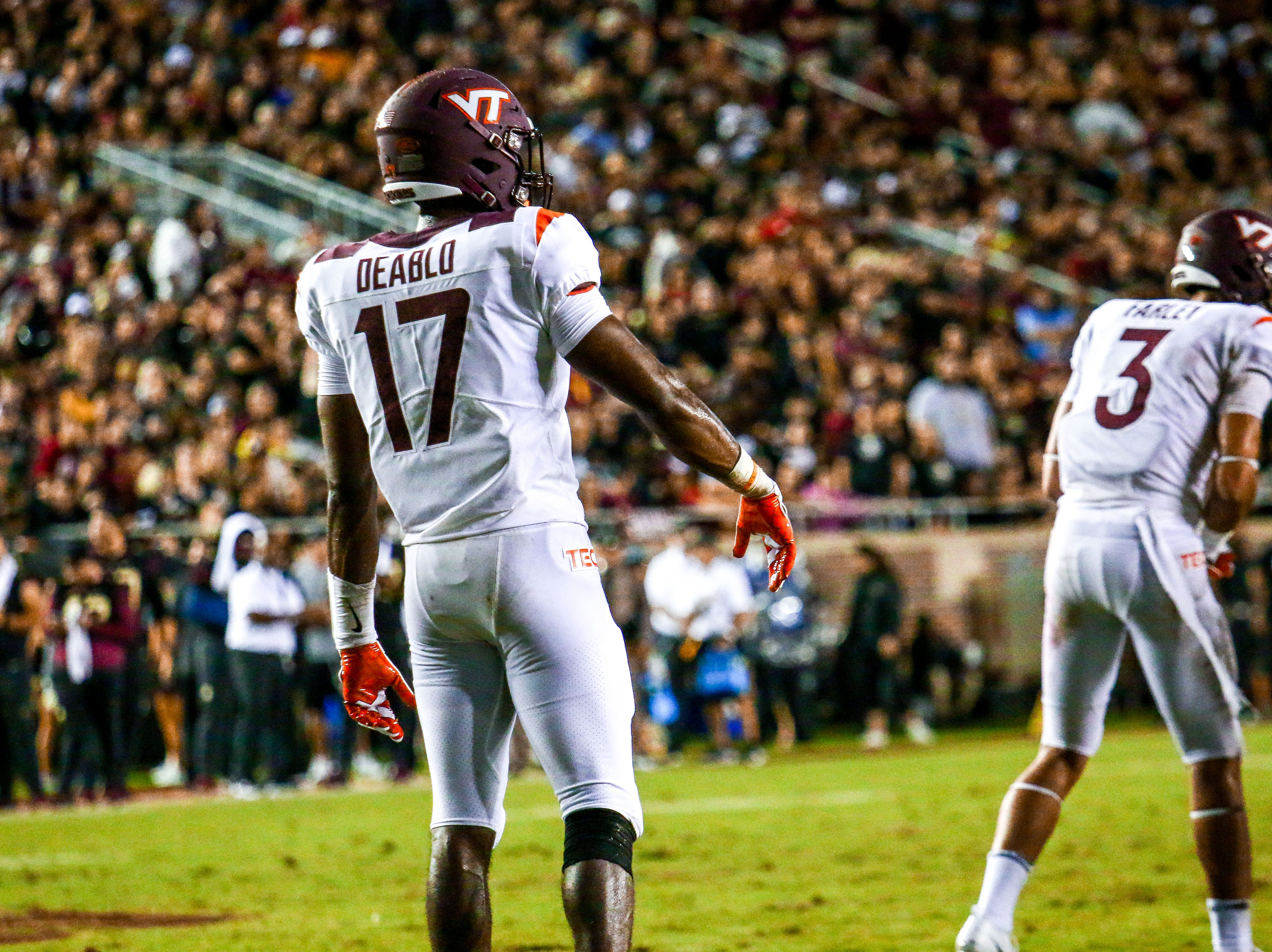 Divine Deablo (17) and the Virginia Tech defense punished FSU's offensive mistakes the entire game. FSU would go on to put up only 3 points on Monday, September 3rd at Doak Campbell Stadium.