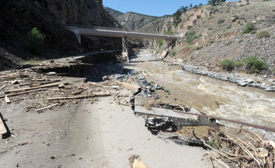 Hwy 34 at the mouth of the Big Thompson Canyon is washed away in Loveland Tuesday Sept. 17, 2013.