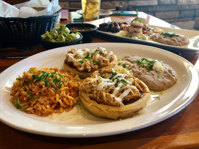 Sopes with rice and beans from Cantina 109 at Gulf Coast Town Center.
