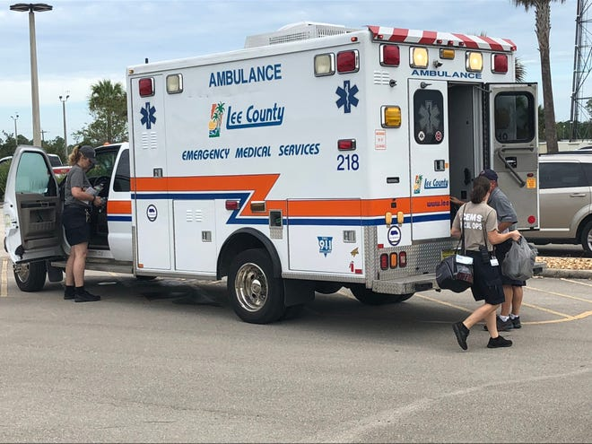 Two ambulances and a supervisor unit from Lee County EMS departed for Sarasota where they will meet up with three more ambulances and then head to North Carolina to assist in the aftermath of Hurricane Florence.