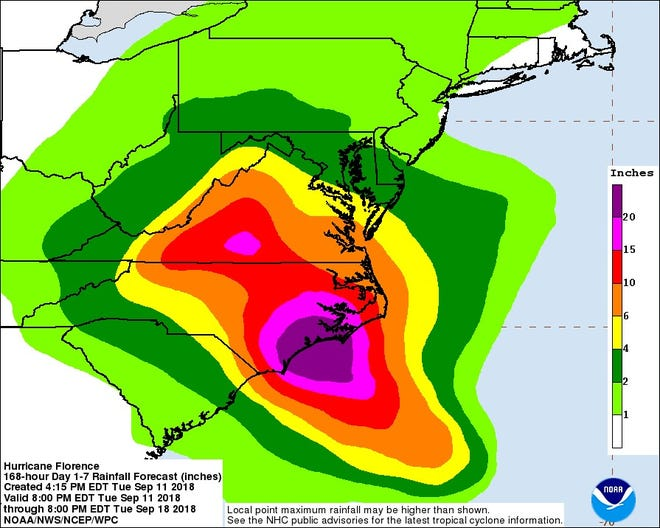 The National Hurricane Center is projecting up to 20 inches of rainfall on South Carolina's coast from Hurricane Florence.