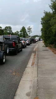 Residents and visitors are backed up in traffic on State 544 from the southern Grand Strand as they heed a mandatory evacuation ahead of Hurricane Florence.