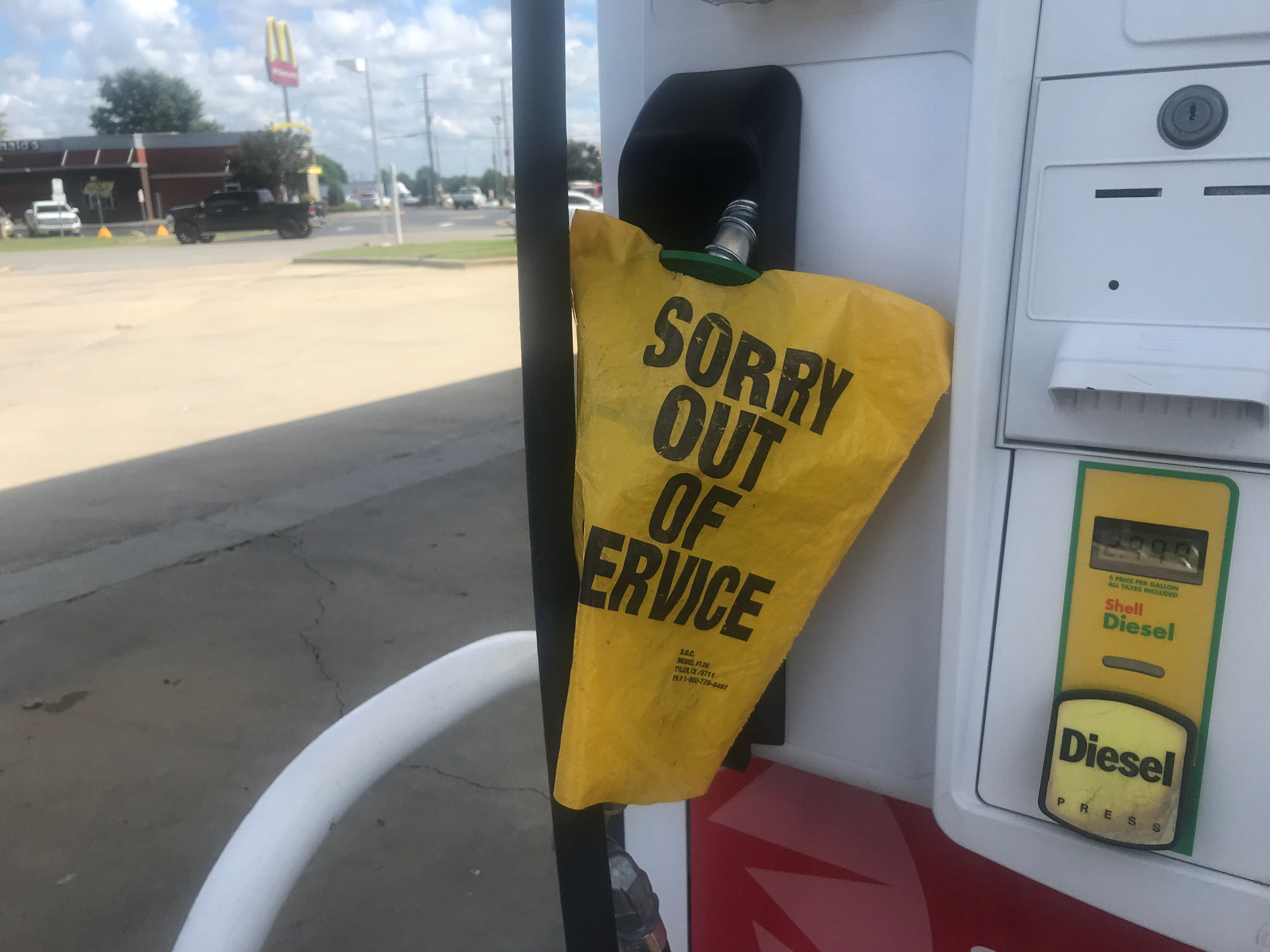 Down to just 300 gallons, the Shell gas station on state highway 42 in Garner, N.C., disabled card swipe on Tuesday, Sept. 11, 2018.