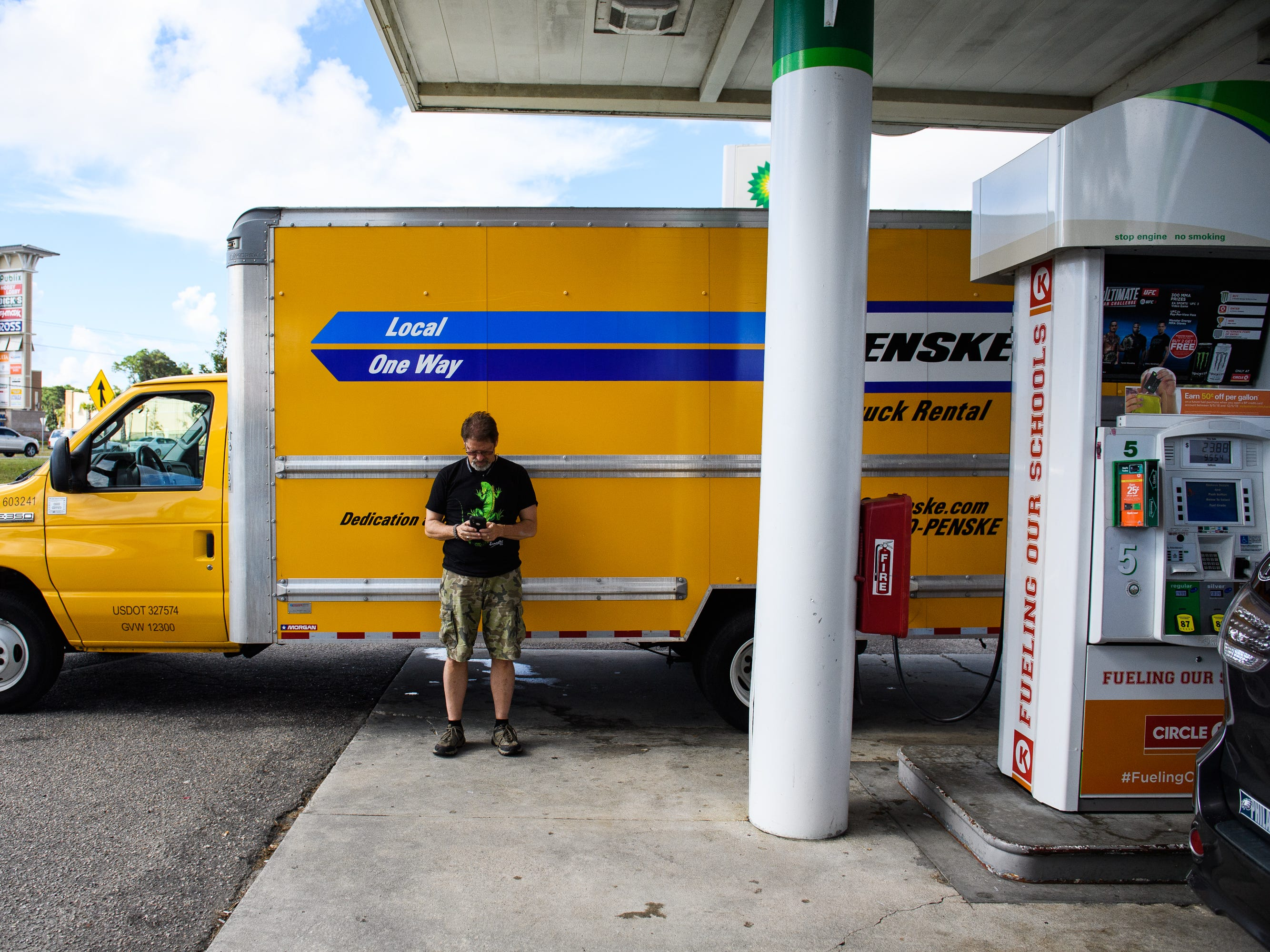 Eric Oakley of North Myrtle Beach fills up his moving truck hours before the official evacuation begins on Tuesday, Sept. 11, 2018. Oakley said he and his family will be evacuating their home.