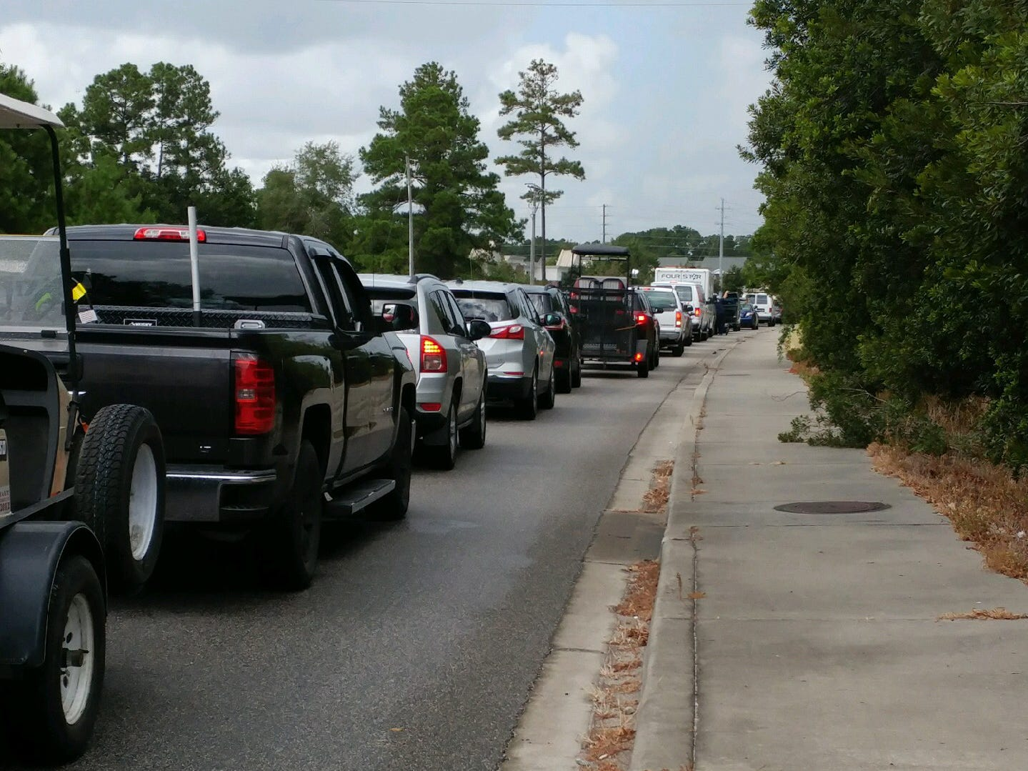 Vehicles pack State 544 as residents leave the southern Grand Strand for points inland ahead of Hurricane Florence on Tuesday, Sept. 11, 2018.