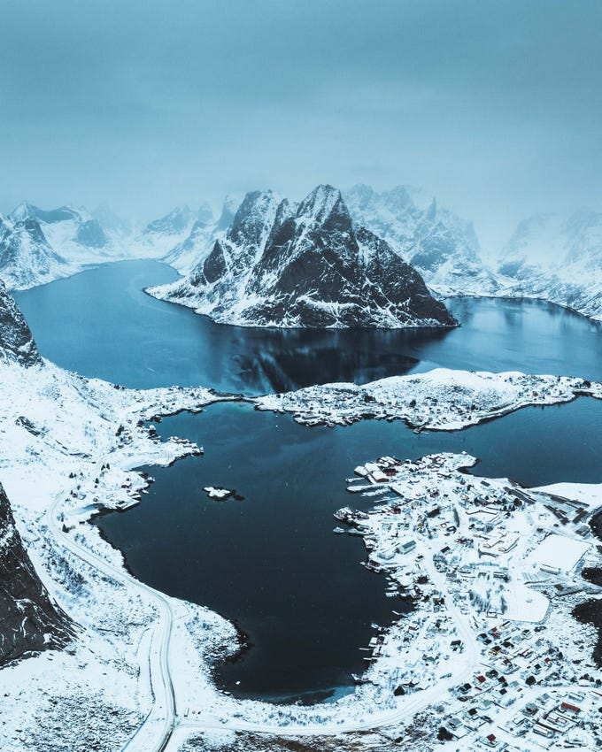 Lishen was able to take this photo of snow covered Norway during one of his trips.