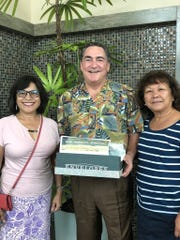 Phil Flores, president of Bank Pacific donated a box of school supplies to Guahan Academy Charter School on August 30, 2018. Pictured from left: Dr. Judy Won Pat, chief academic officer of Guahan Academy Charter School; Phil Flores, and Teresita Cruz, dean of Elementary School Guahan Academy Charter School.