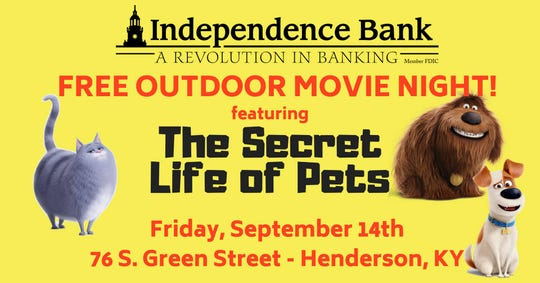 Free outdoor movie night is Friday, Sept. 14, at Independence Bank.