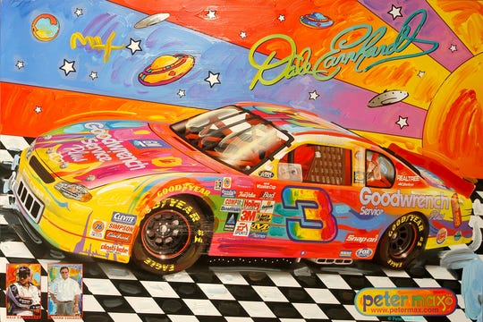 Pop artist Peter Max has painted several Indianapolis icons, including Dale Earnhardt's Indy 500 car.