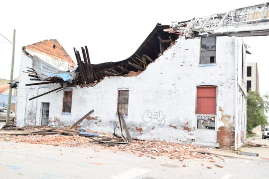 The two-story building at the corner of Ninth and Illinois streets collapsed shortly before 5:30 p.m. on Monday, Sept. 10, 2018.