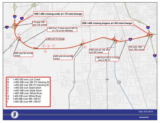 Westbound lanes of Interstate 465 from the I-70 interchange to the I-65 interchange in southwestern Indianapolis will be closed for about 10 days.