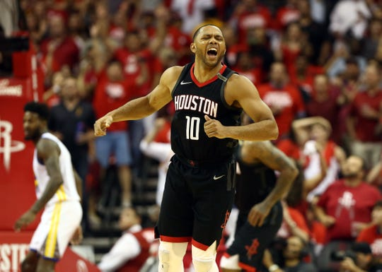 May 24, 2018;  Houston Rockets guard Eric Gordon (10) reacts during the fourth quarter in game five of the Western conference finals of the 2018 NBA Playoffs against the Golden State Warriors at Toyota Center.