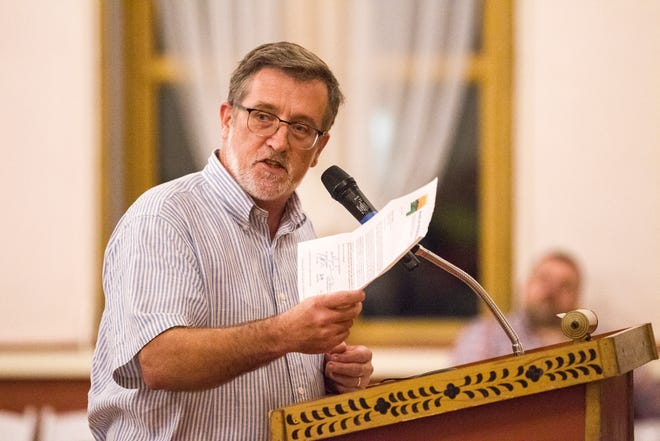 """Johnson County Supervisor Kurt Friese speaks during a public hearing organized by members of the """"Save Our Labor Center coalition"""" on Monday, Sept. 10, 2018, at Old Brick in Iowa City."""