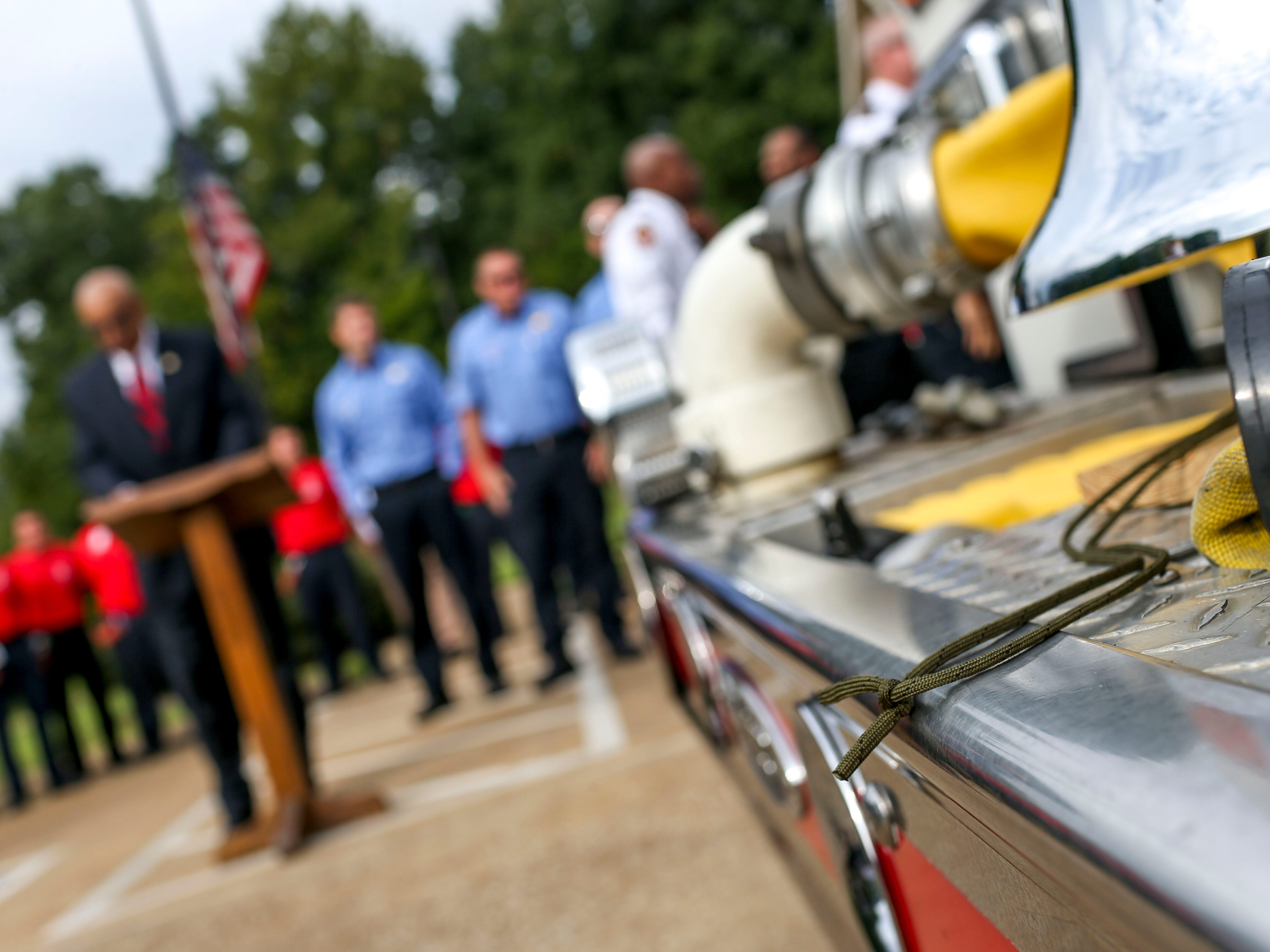 A string used to ring a bell sits idle after a ceremony honoring the victims of the 9/11 attacks at Fire Station 3 in Jackson, Tenn., on Tuesday, Sept. 11, 2018.
