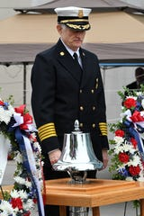 KFD Chief Stan Sharp rings the bell to start the 2018 Knoxville 9/11 Memorial Stair Climb held at the Sunsphere Tuesday, September 11, 2018. About 130 climbers took part in the event meant to honor those emergency workers who lost their lives on Sept. 11.