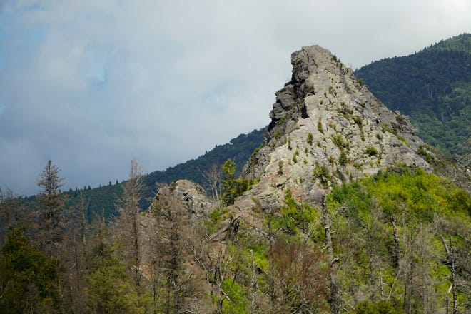 One of the rock pinnacles of the Chimney Tops is seen from the trail's new viewing area.