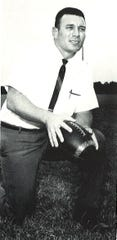 Dave Cavalier, Sr., pictured here in Acadiana High's first yearbook for the 1969-70 school year, was the first head football coach for the Wreckin' Rams and later served as principal.