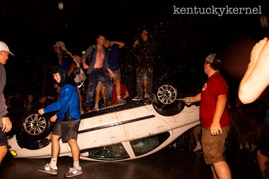 State Street Lexington Car Flipped UK vs. Florida